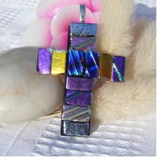 Cross Handmade Dichroic Glass Pendant