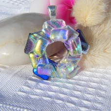 Shimmering Circle Handmade Dichroic Glass Pendant