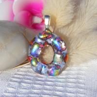 Shimmering Oval Handmade Dichroic Glass Pendant