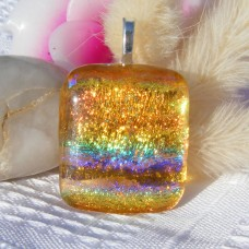 Golden Galore Crinkle Dichroic Glass Pendant Necklace