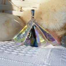 Fan Handmade Dichroic Glass Pendant ID566