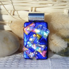 Stacked Blue Handmade Dichroic Glass Pendant Necklace
