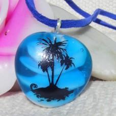 Blue PalmTree Handmade Lampwork Glass Pendant