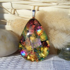 Fiery Sunset Teardrop Dichroic Glass Necklace Pendant