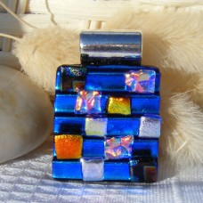 Shelves Handmade Dichroic Glass Pendant Necklace