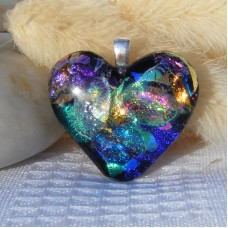 Multi Colour Heart Dichroic Glass Pendant  ID580