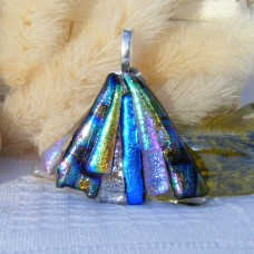 Fan Handmade Dichroic Glass Pendant ID583