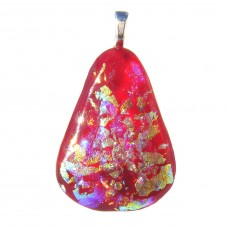 Red Teardrop Dichroic Glass Pendant Necklace ID584