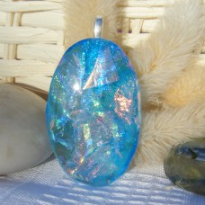 Ice Blue Oval Dichroic Glass Necklace Pendant