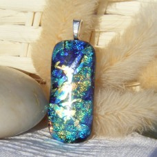 Multi Ingot Glass Dichroic Pendant Necklace