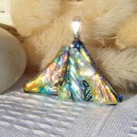 Multi Fan Handmade Dichroic Glass Pendant ID587