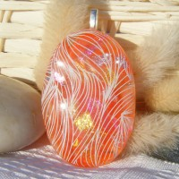 Orange Oval Dichroic Handmade Glass Pendant