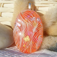 Orange Oval Dichroic Handmade Glass Pendant