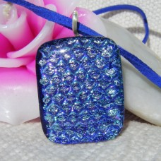 Spotty Blue Handmade Dichroic Glass Pendant