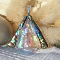 Fan Handmade Dichroic Glass Pendant ID592
