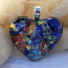 Multi Colour Heart Dichroic Glass Pendant  ID593