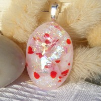 Red, Opal and Silver Dichroic Glass Pendant