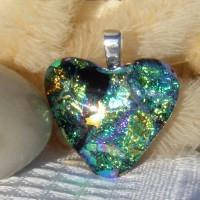 Multi Colour Heart Dichroic Glass Pendant  ID597