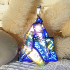 Stacked Blue Triangle Handmade Dichroic Glass Pendant Necklace