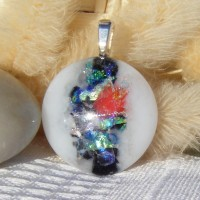 Multi and White Circle Dichroic Handmade Glass Pendant