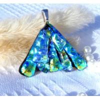 Fan Handmade Dichroic Glass Pendant ID600