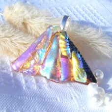 Fan Handmade Dichroic Glass Pendant ID602