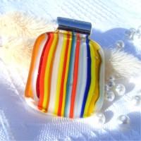 Multi Lines Rainbow Fused Glass Pendant