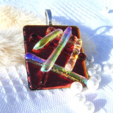 Contemporary Handmade Dichroic Glass Pendant Necklace