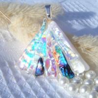 Fan Handmade Dichroic Glass Pendant ID606