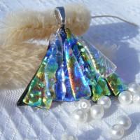 Fan Handmade Dichroic Glass Pendant ID608