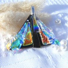 Fan Handmade Dichroic Glass Pendant ID609