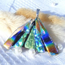 Fan Handmade Dichroic Glass Pendant ID610