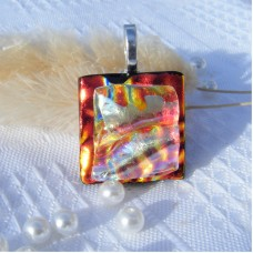 Chunky Red Gold Handmade Dichroic Glass Pendant