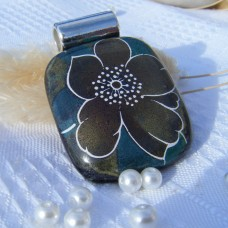 Flower Pendant  Iridised Dichroic Glass Necklace