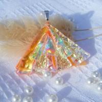 Fan Handmade Dichroic Glass Pendant ID613