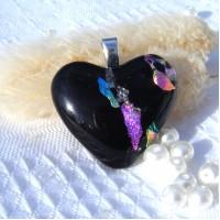Multi Colour Black Heart Dichroic Glass Pendant  ID614