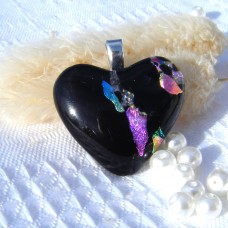 Multi Colour Black Heart Dichroic Glass Pendant  ID614