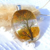 Tree of Life Autumn Dichroic Glass Pendant Necklace