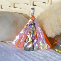 Fan Handmade Dichroic Glass Pendant ID616