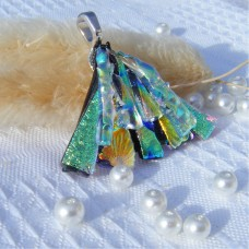 Fan Handmade Dichroic Glass Pendant ID617
