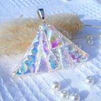 Fan Handmade Dichroic Glass Pendant ID618