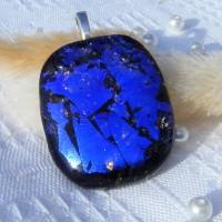 Crackle Blue Dichroic glass Pendant Necklace
