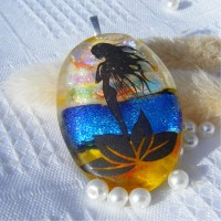 Mermaid at Sea Dichroic Glass Pendant Necklace