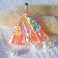 Fan Handmade Dichroic Glass Pendant ID621