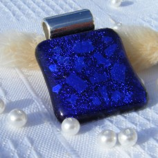 Etched Blue Dichroic glass Pendant Necklace