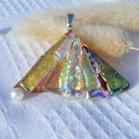 Fan Handmade Dichroic Glass Pendant ID624