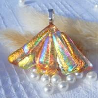 Fan Handmade Dichroic Glass Pendant ID625
