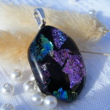 Hexagonal Dichroic Glass Necklace Pendant