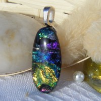 Small Oval Dichroic Glass Necklace Pendant