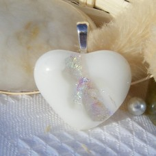 White Silver Clear Heart Dichroic Glass Pendant